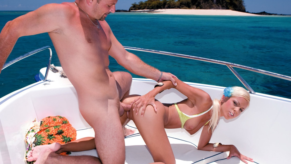 Boroka Balls Gets Laid by Two Guys on a Boat before Getting Facialed