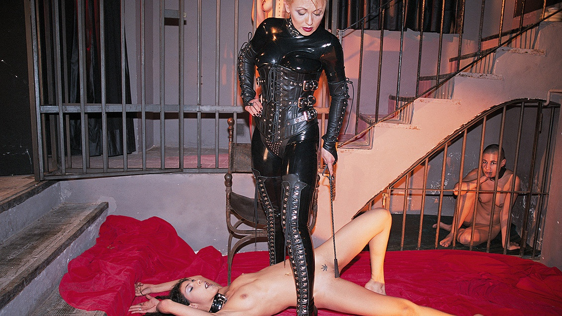 Claudia Claire Cristina Bella and Two Friends in Lesbian BDSM Caged Sex