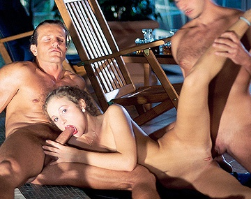 Private  porn video: 18 Year Old Polina Enjoys Two Men outside by the Pool