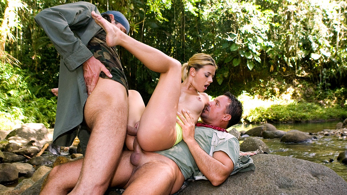 Chloe Is Fucked by Two Big Cocks down by the River