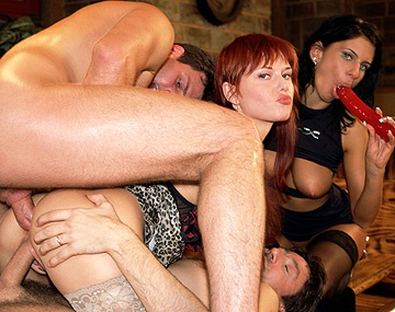 Private  porn video: Sexy Redhead Carmen White Accepts Multiple Dicks inside Her