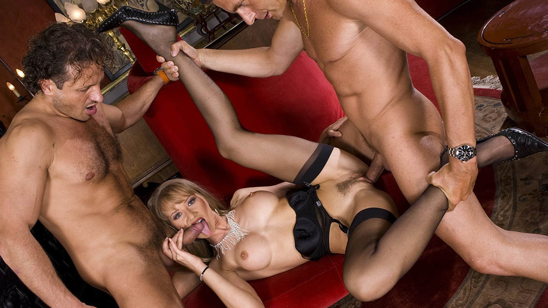 Bambola with Two Guys Getting a MMF Threeway DP with Facial Cumshots