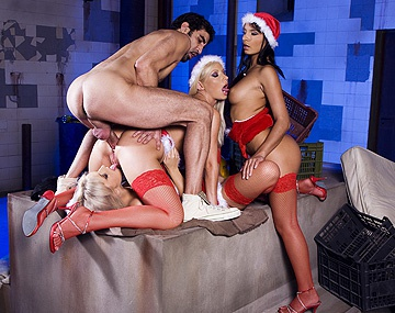 Private HD porn video: Three Sexy Girls Dressed in Santa Outfits Surprise Some Men