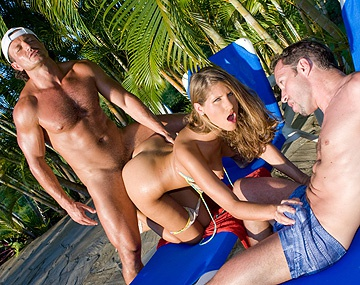 Private  porn video: Jennifer Stone Gets Bubble Butt Kissed in Outdoor MMF Threesome