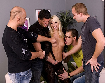 Private  porn video: Blonde Lena Cova Gets Wild Gang Bang with Handjobs Blowjobs and DP