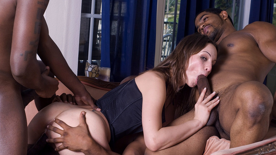 Amber Rayne Gets an Interracial Gang Bang with Blowjobs and a DP