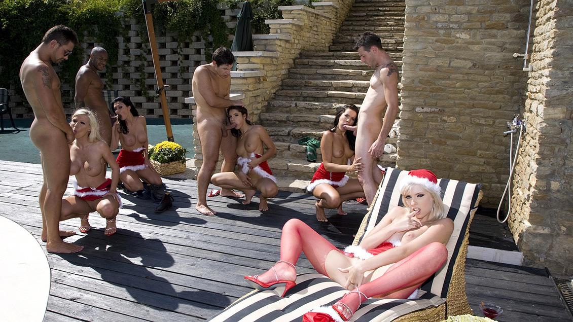 Lucy Belle Stella Delcroix and Aletta Ocean Holiday Gang Bang