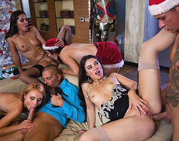 Private HD porn video: A Christmas Orgy with Candy Alexa, Nataly Von, Tiffany...