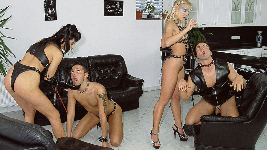 Dominatrices Mercedes and Sophie Angel Use Two Men for Hardcore Sex