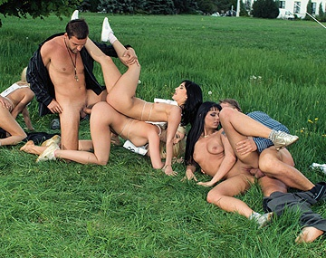 Private HD porn video: Four Pornstars Race Naked for Sex in This Outdoor Group Sex Scene