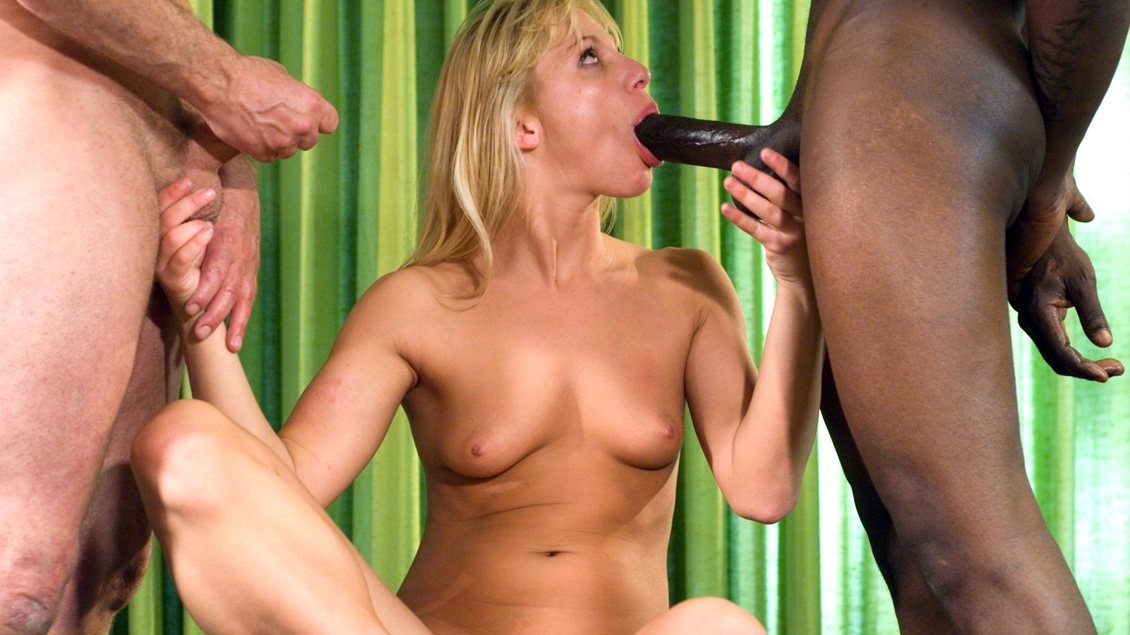 Aurora Snow Takes a Black Dick in Her Ass and a White on in Her Pussy