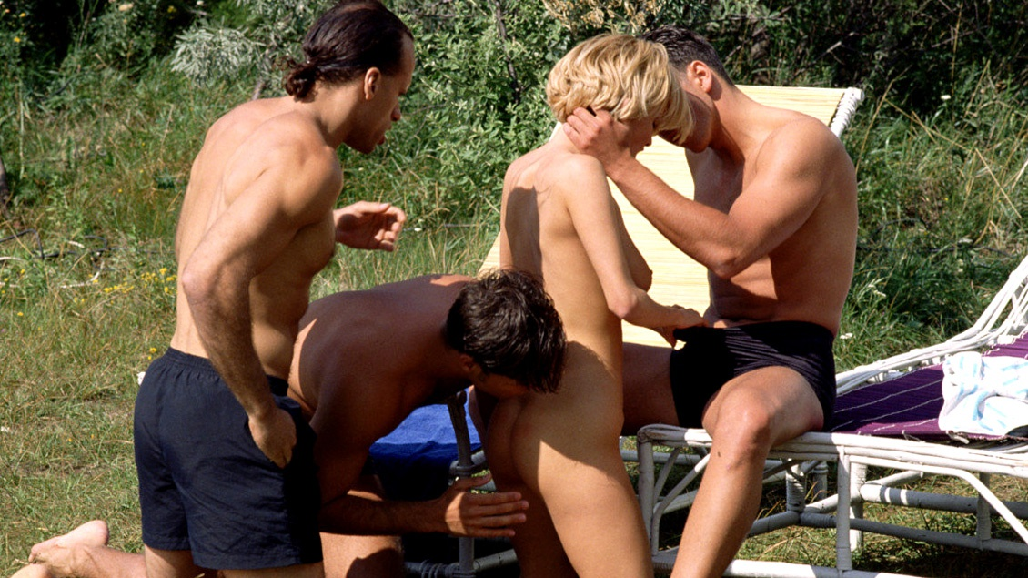 Grety and Her Friend at an Outdoor Orgy Giving Handjobs and Blowjobs