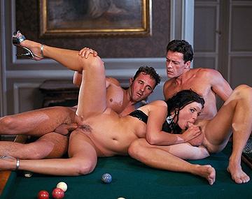 Private  porn video: Gorgeous Brunette Jessica Fiorentino Sucks Two Dicks in MMF Threeway