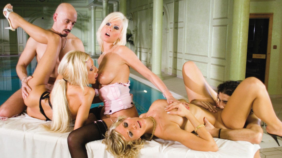 Tiffany Rousso and Her Sexy Girlfriends Share a Throbbing Hard Cock