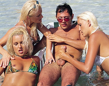Private  porn video: One Horny Beachcomber Gets Seduced by Three Hot Blondes