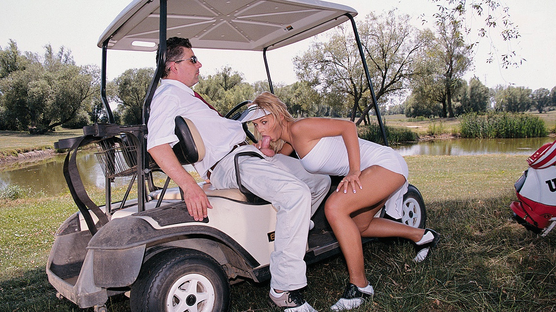 Blonde Bombshell Alisson Is Penetrated on Top of a Golf Cart