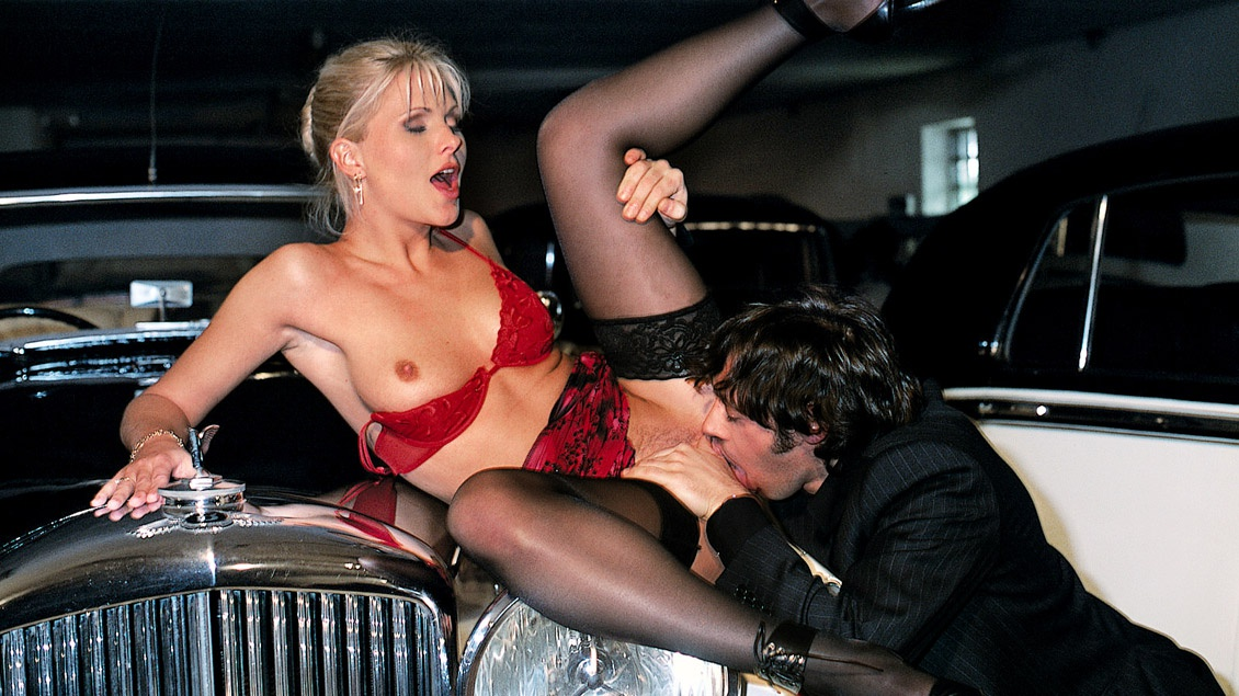 Blonde Kathy Fucks Her Date in the Garage by the Cars