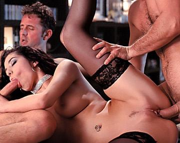 Private  porn video: Lara Sucks and Fucks Two Men Who Double Penetrate Her Sexy Body
