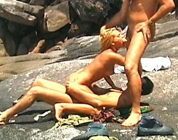 Private  porn video: Colette Has a Hardcore Threesome and DP on the Rocks by the Shore
