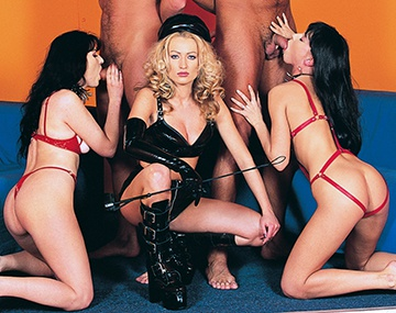 Private  porn video: Mistress Sue and Her Two Slave Girls Fuck Two Men and Get Their Cum