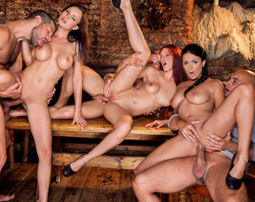 Private HD porn video: Abbie Cat, Anissa Kate y Mira Sunset, cierran el bar, las enculan en una orgía y se ponen a tragar