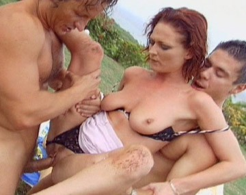 Private  porn video: Donna Marie Screws Three Studs Outdoors in MMMF Foursome with Facials