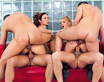 Private  porn video: Dora Venter and Nataly Brown Kiss to Swap the Cum of Four Hard Cocks
