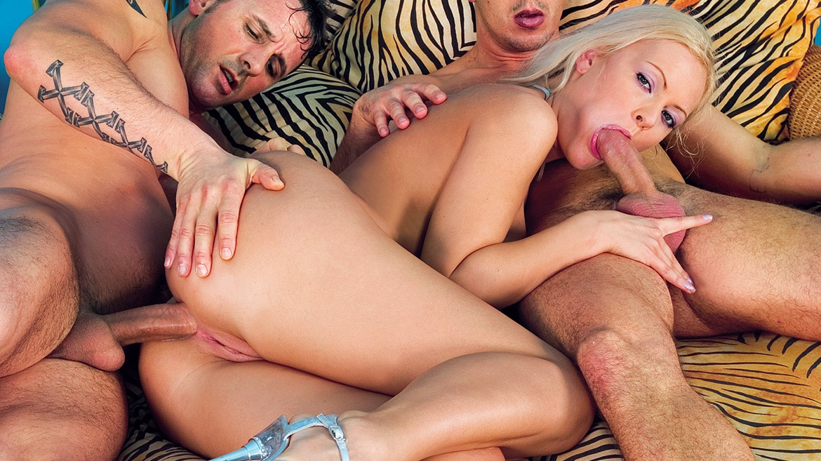 The Blonde Kitty Sixx Takes a Serious Anal Blasting by Two Men