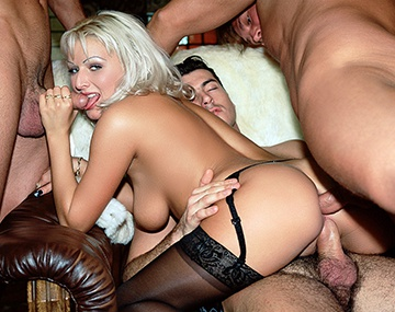 Private  porn video: Gangbang Babe Holly Has All Holes Pumped before Swallowing Lots of Cum