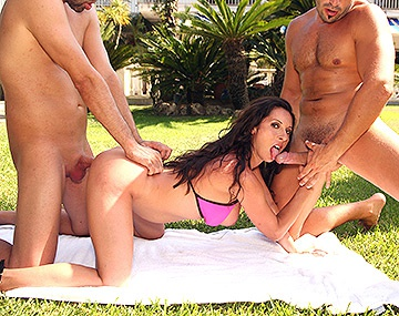 Private HD porn video: Milf Noemi Has a Threeway With Two Hard Cocks Outside