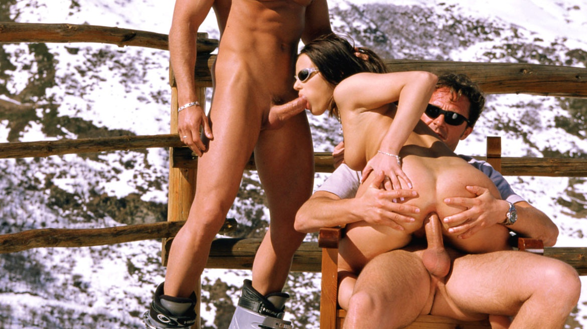 Vanessa Virgin Rides Out an Anal Threeway in the Alps