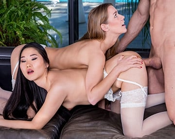 Private HD porn video: The Asian Katana has a threesome with Alexis Crystal