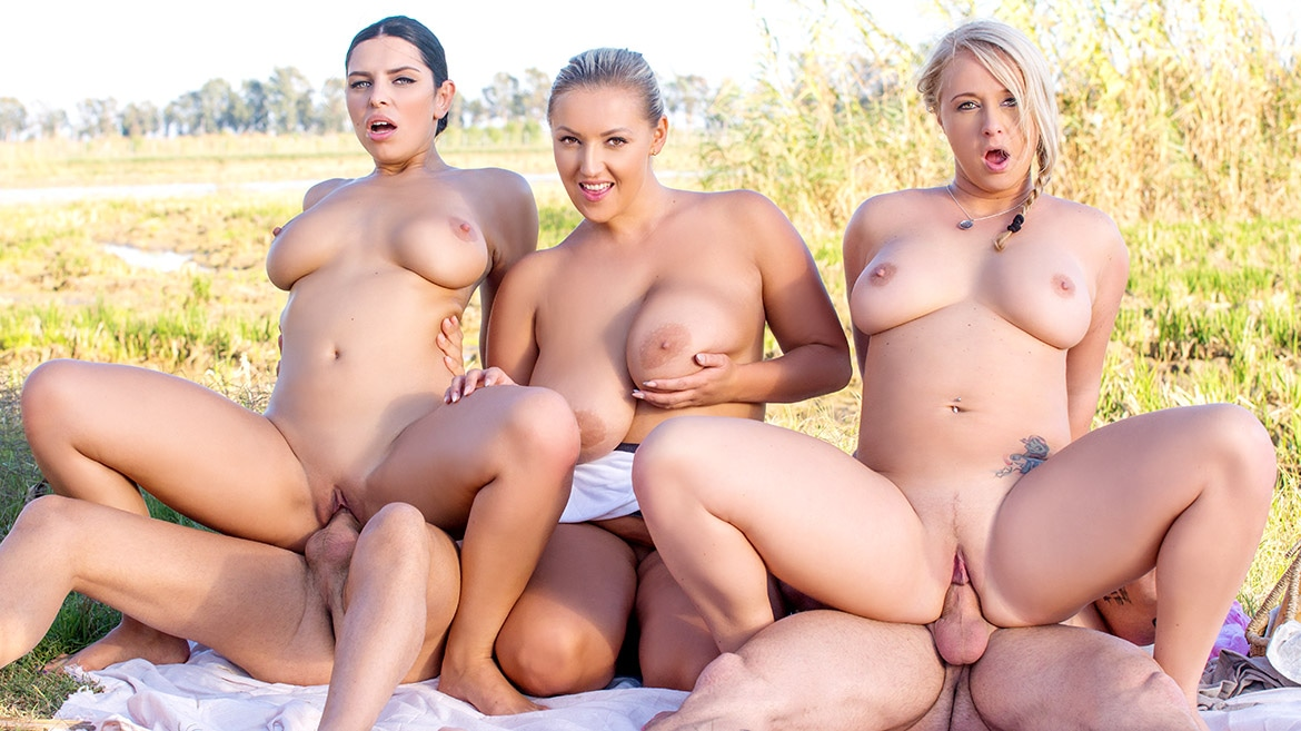 Kira Queen, Bambi Bella and Crystal Swift, in country orgy
