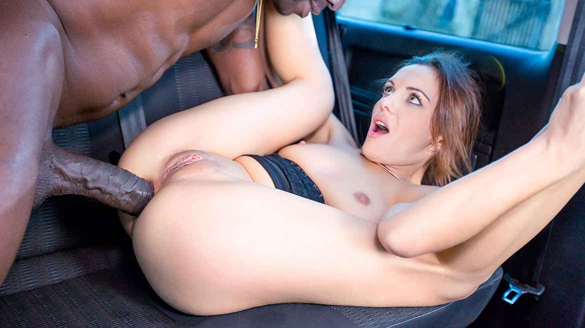 Dominica Phoenix takes interracial anal without leaving the taxi