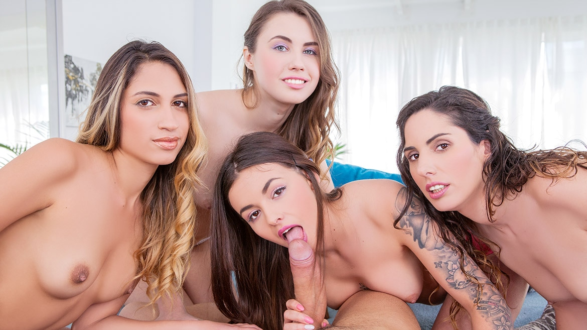 Elle Rose, Lara Romero, Linda del Sol and Baby Nicols share a stallion
