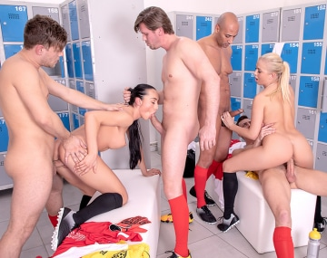 Private HD porn video: Ana Rose and Cayla Lions in locker room orgy