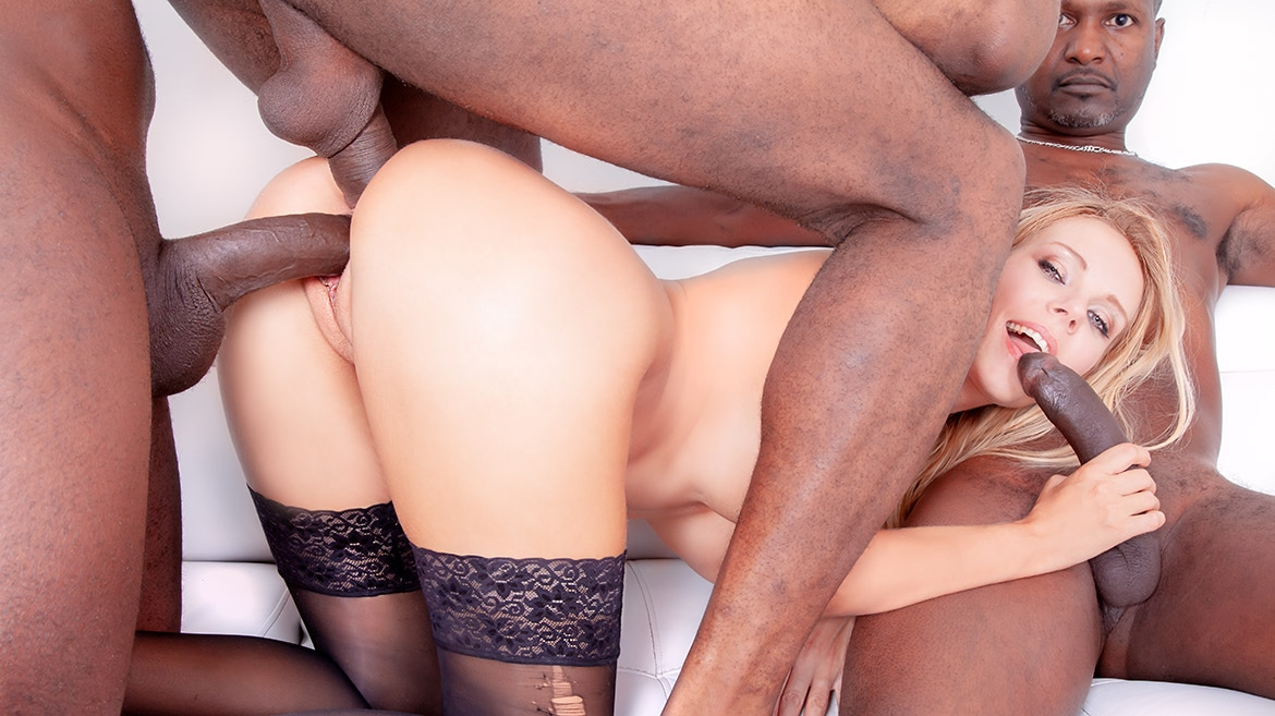 Four Black Studs for Blonde Nympho
